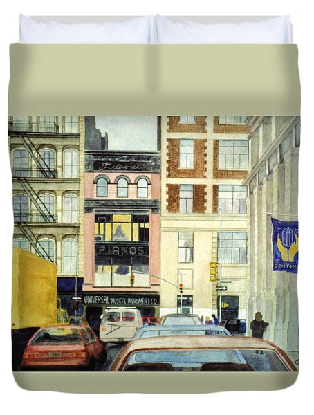 Duvet Cover featuring the painting Cityscape by Karen Zuk Rosenblatt
