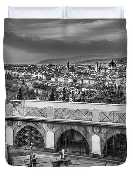 Duvet Cover featuring the photograph Cityscape Of Florence And Cemetery by Sonny Marcyan