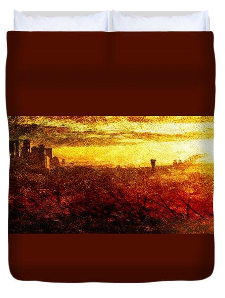 Cityscape Sunset Duvet Cover by Andrea Barbieri