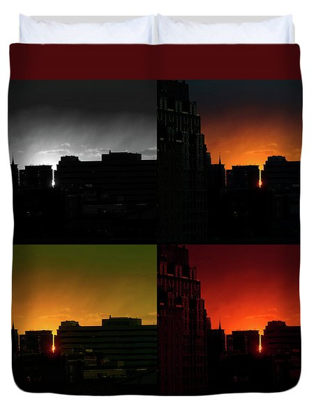 Duvet Cover featuring the photograph Cityscape Sunset by Jeff Ross