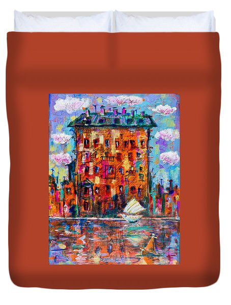 Cityscape With A Sailing Boat Duvet Cover