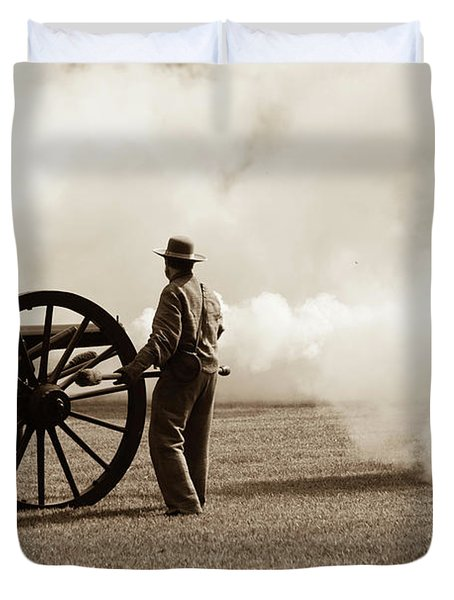 Civil War Era Cannon Firing  Duvet Cover