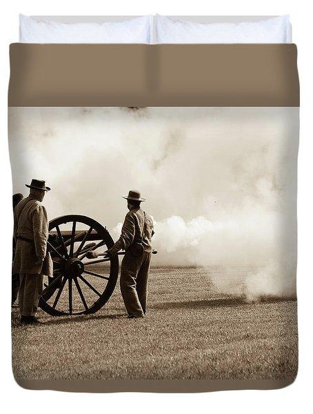 Civil War Era Cannon Firing  Duvet Cover