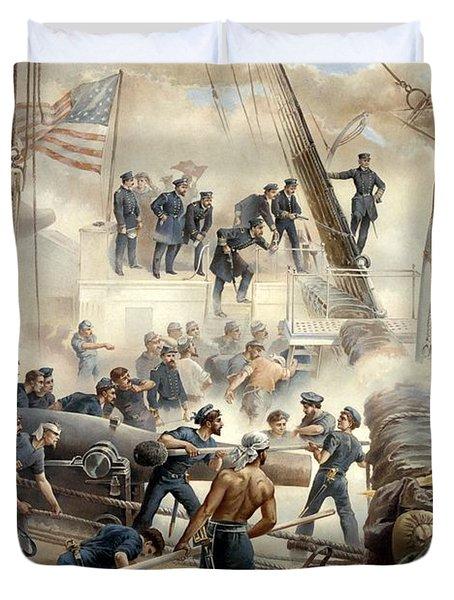 Civil War Naval Battle Duvet Cover