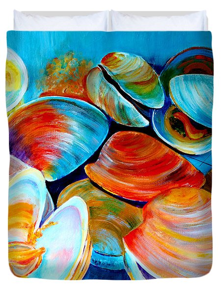 Clams At The Jersey Shore Duvet Cover