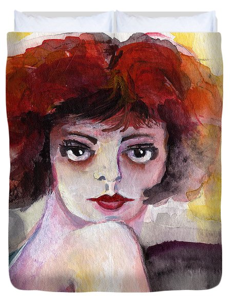 Duvet Cover featuring the painting Clara Bow Vintage Movie Stars The It Girl Flappers by Ginette Callaway