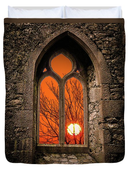 Duvet Cover featuring the photograph Clare Abbey Sunrise by James Truett