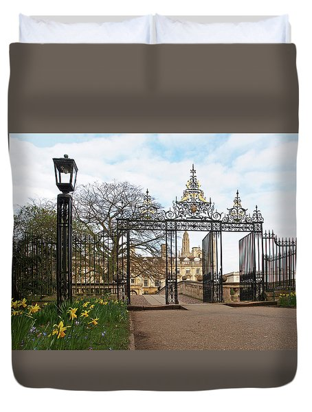 Duvet Cover featuring the photograph Clare College Gate Cambridge by Gill Billington