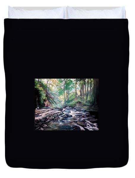 Duvet Cover featuring the painting Clare Glens ,co Tipparay Ireland by Paul Weerasekera