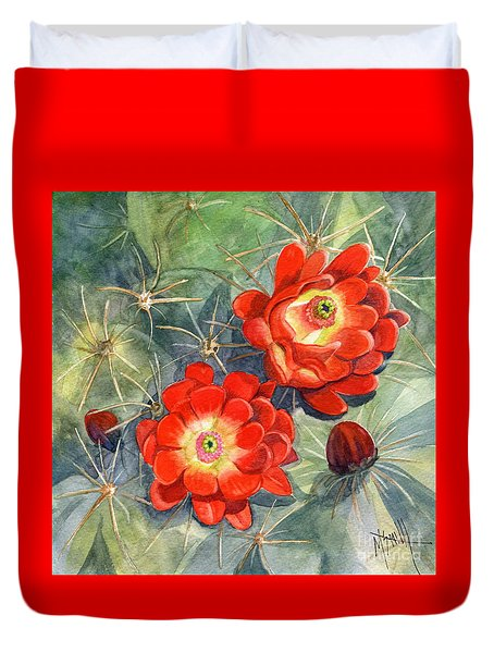 Claret Cup Cactus Duvet Cover by Marilyn Smith