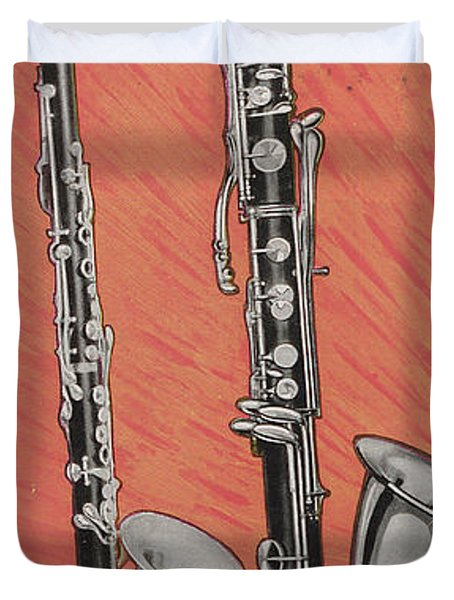 Clarinet And Giant Boehm Bass Duvet Cover by American School