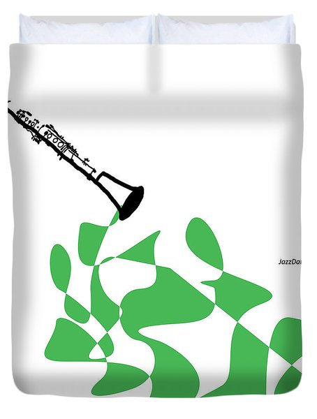 Clarinet In Green Duvet Cover