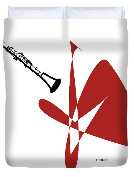 Clarinet In Orange Red Duvet Cover