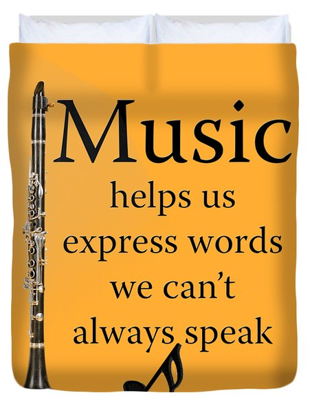 Clarinet Music Expresses Words Duvet Cover