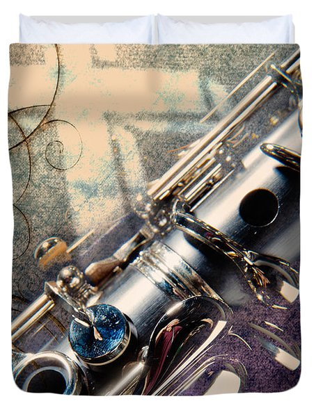 Clarinet Music Instrument Against A Cross 3520.02 Duvet Cover by M K  Miller