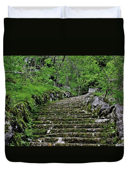 Duvet Cover featuring the photograph Clark Reservation  by Suzanne Stout