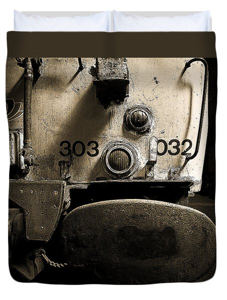 Duvet Cover featuring the photograph Class 303 Blue Train by Ray Devlin