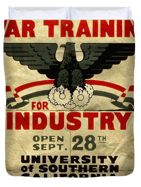 Classes In War Training For Industry - Vintage Poster Folded Duvet Cover