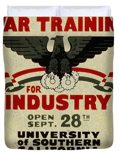 Classes In War Training For Industry - Vintage Poster Vintagelized Duvet Cover
