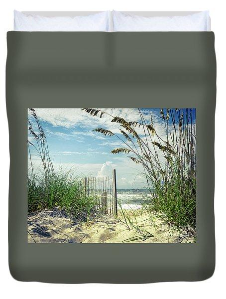 To The Beach Sea Oats Duvet Cover