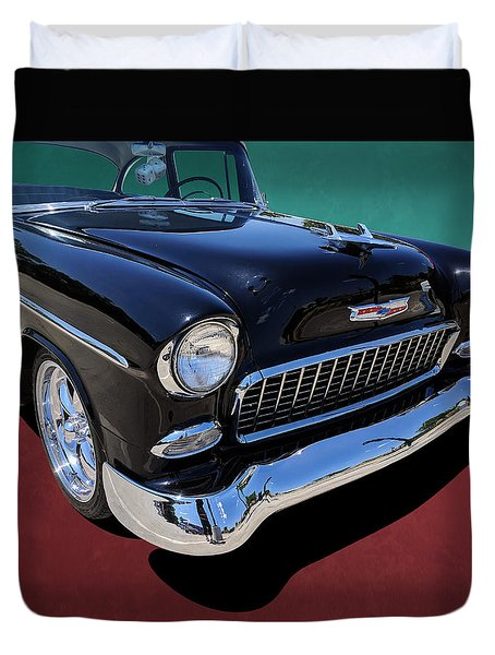 Classic Black And White 1950s Chevy Bel Air Duvet Cover