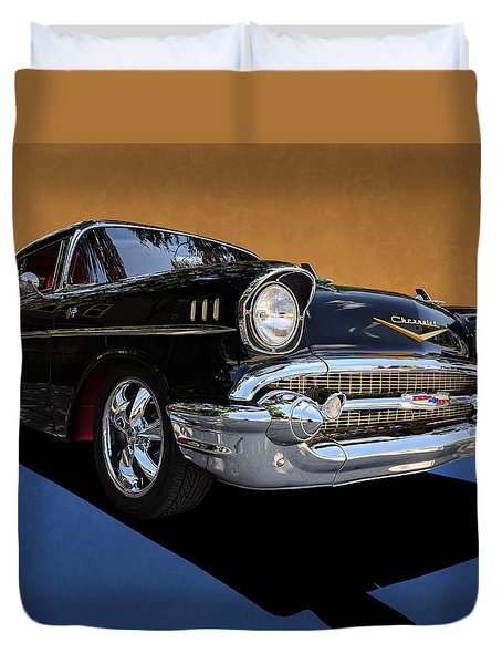 Classic Black Chevy Bel Air With Gold Trim Duvet Cover