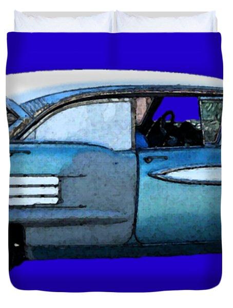 Classic Blue Motor Art Duvet Cover