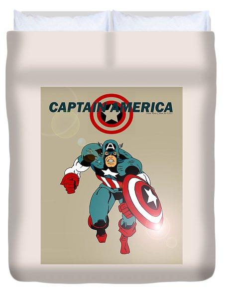 Classic Captain America Duvet Cover by Mista Perez Cartoon Art