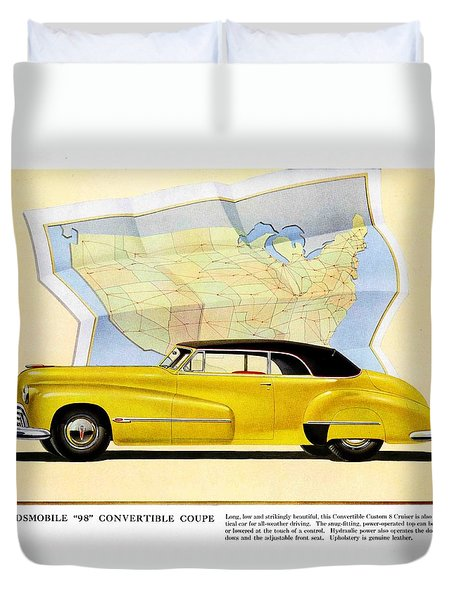 Classic Car Ads Duvet Cover by Allen Beilschmidt