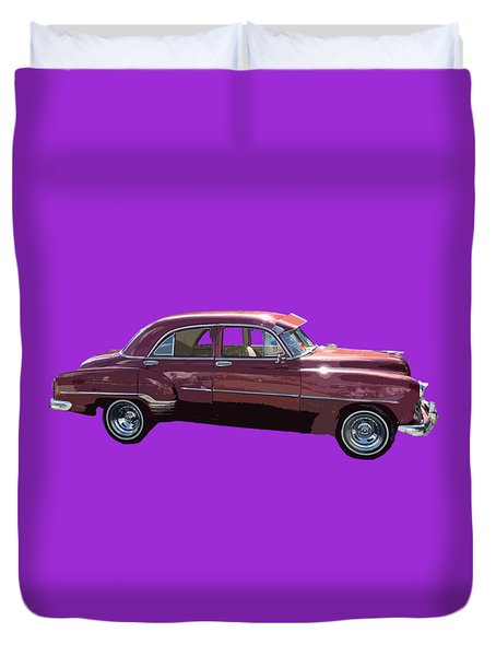 Classic Car Art In Red Duvet Cover