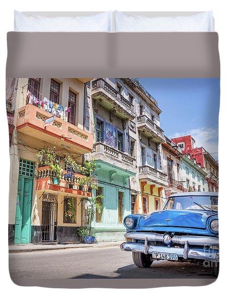 Classic Car In Havana, Cuba Duvet Cover
