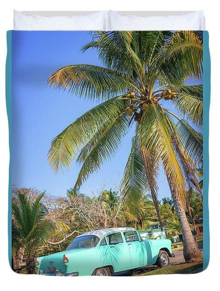 Classic Car In Playa Larga Duvet Cover