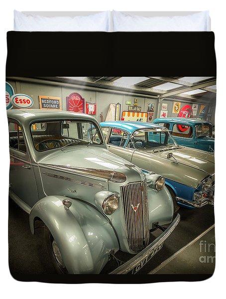 Duvet Cover featuring the photograph Classic Car Memorabilia by Adrian Evans