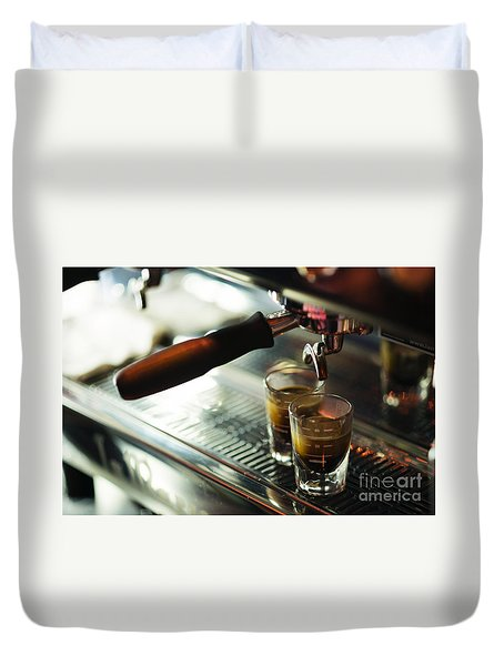 Classic Espresso Machine Detail With Coffee Cups Duvet Cover