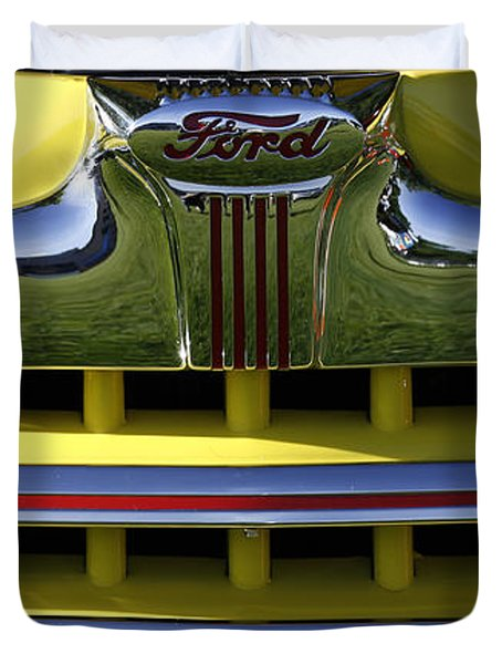 Classic Ford Chrome Grill Duvet Cover