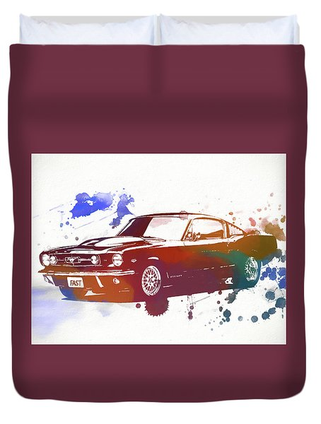 Classic Ford Mustang Watercolor Splash Duvet Cover by Dan Sproul