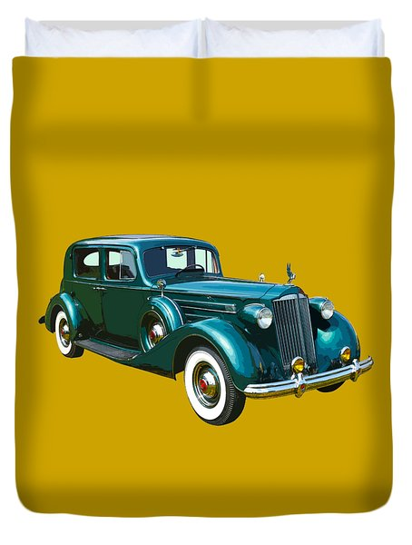 Classic Green Packard Luxury Automobile Duvet Cover