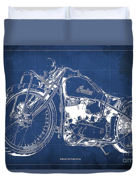 Classic Indian Motorcycle Blueprint Duvet Cover