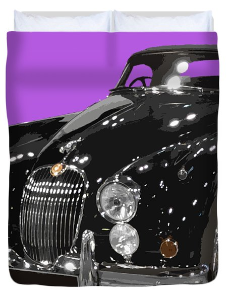 Classic Jaguar In Black Art Duvet Cover