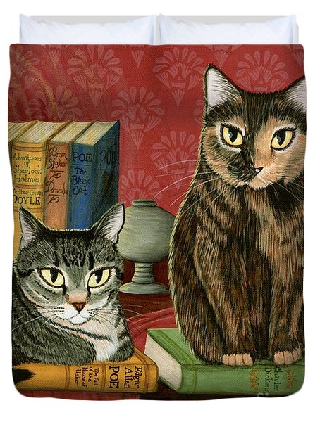 Duvet Cover featuring the painting Classic Literary Cats by Carrie Hawks