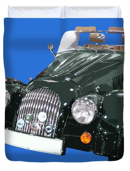 Classic Motor Art In Green Duvet Cover