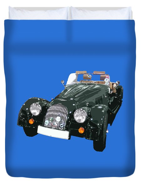 Classic Motor Art In Green Duvet Cover