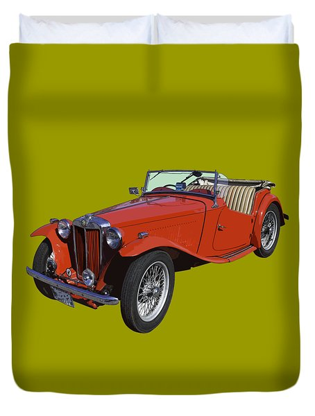 Classic Red Mg Tc Convertible British Sports Car Duvet Cover