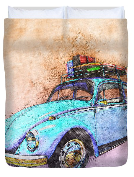 Classic Road Trip Ride Watercolour Sketch Duvet Cover