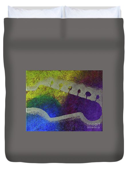 Duvet Cover featuring the drawing Classic Rock by Melissa Goodrich