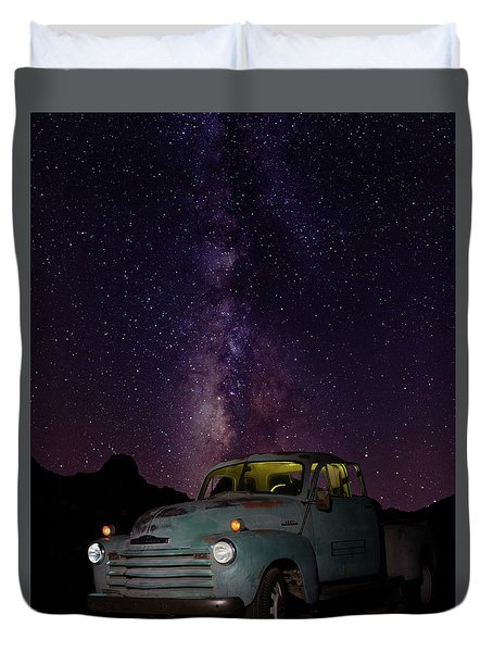 Classic Truck Under The Milky Way Duvet Cover