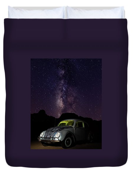 Classic Vw Bug Under The Milky Way Duvet Cover