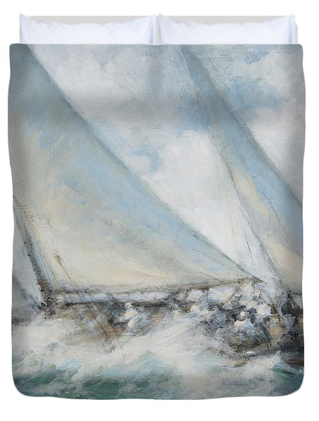 Classic Yacht  Twixt Wind And Water Duvet Cover