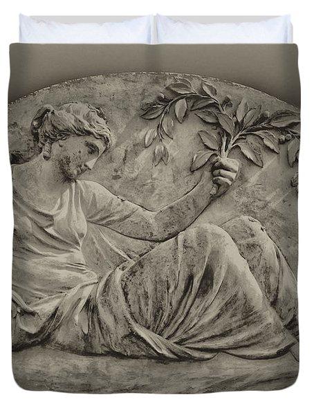 Classical Greek Woman Fresco Duvet Cover by Bill Cannon