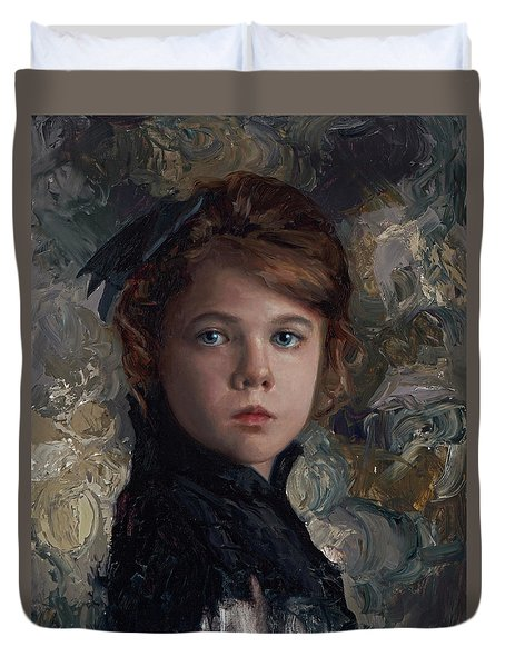 Duvet Cover featuring the painting Classical Portrait Of Young Girl In Victorian Dress by Karen Whitworth